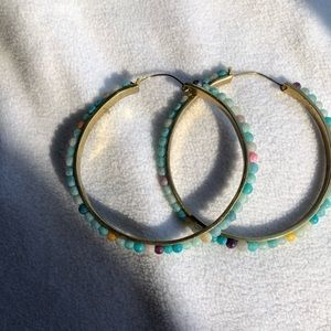 Anthropologie Large Beaded Statement Earrings